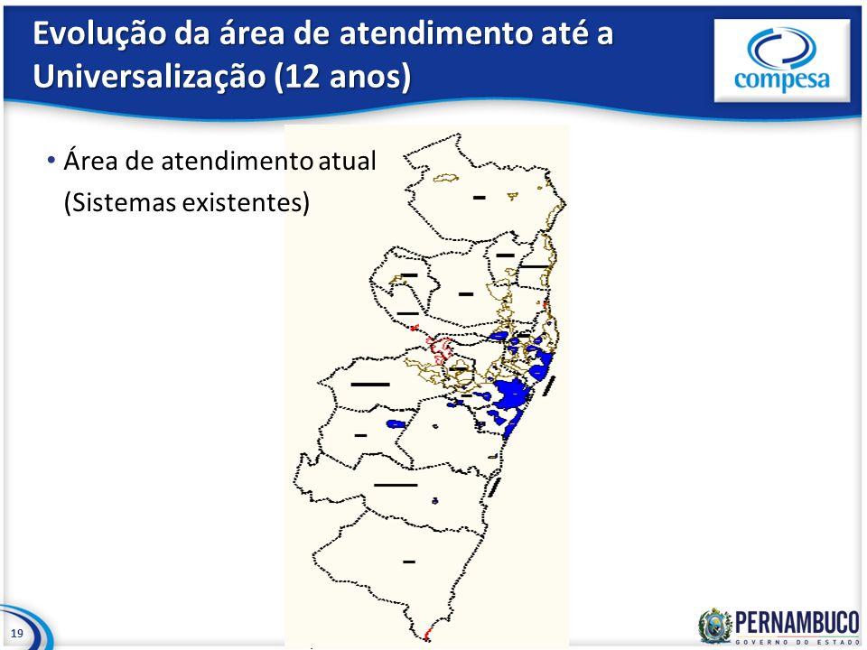 Evolução da área de atendimento até a Universalização (12 anos) 19 Área de atendimento atual (Sistemas existentes)