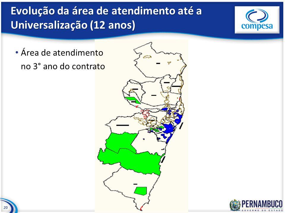 Evolução da área de atendimento até a Universalização (12 anos) 20 Área de atendimento no 3° ano do contrato