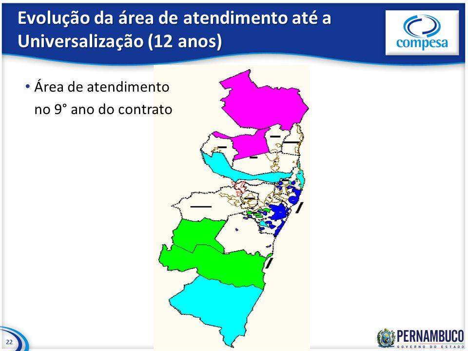 Evolução da área de atendimento até a Universalização (12 anos) 22 Área de atendimento no 9° ano do contrato
