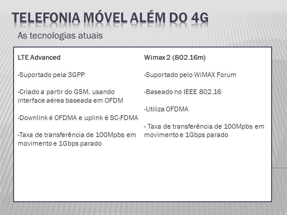 As tecnologias atuais LTE Advanced -Suportado pela 3GPP -Criado a partir do GSM, usando interface aérea baseada em OFDM -Downlink é OFDMA e uplink é S