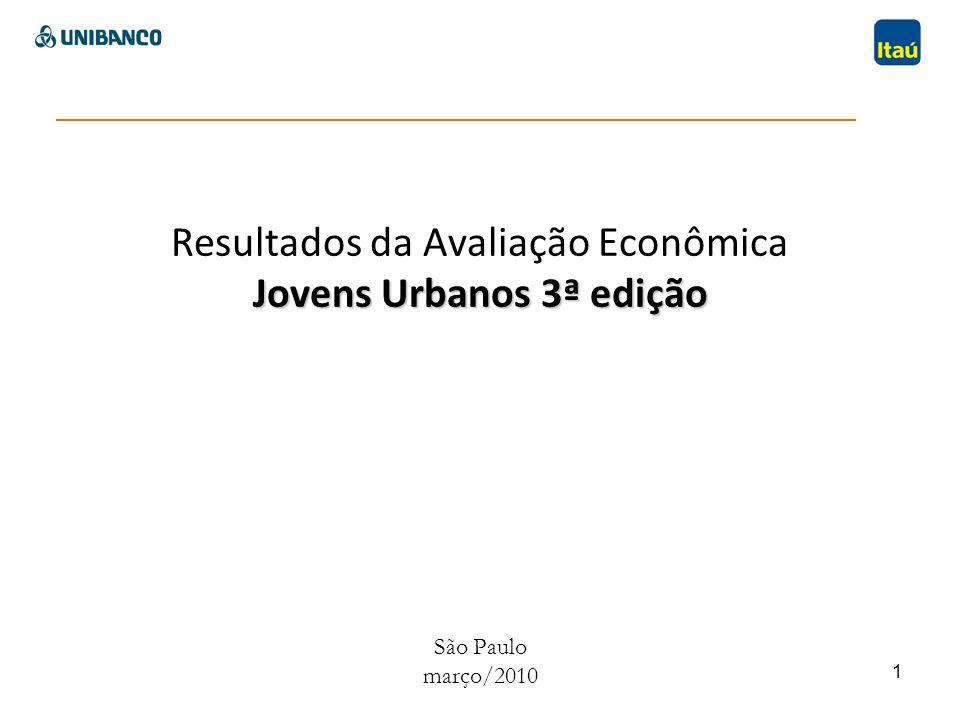 1 Jovens Urbanos 3ª edição Resultados da Avaliação Econômica Jovens Urbanos 3ª edição São Paulo março/2010