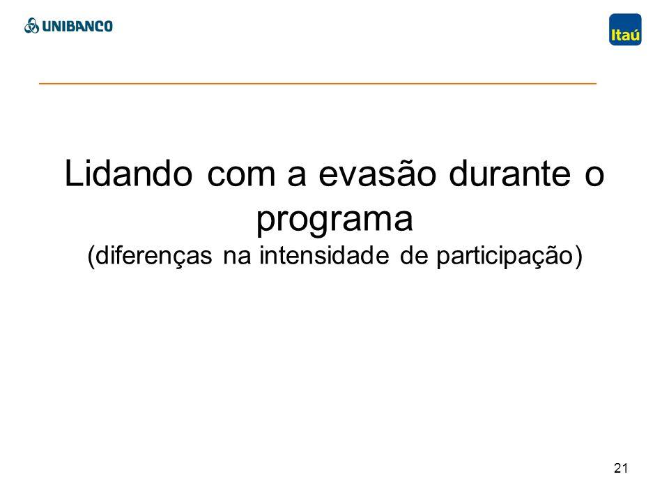Lidando com a evasão durante o programa (diferenças na intensidade de participação) 21