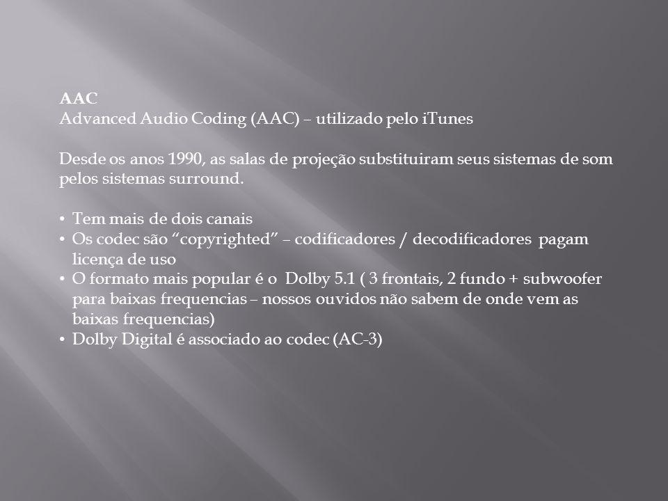 AAC Advanced Audio Coding (AAC) – utilizado pelo iTunes Desde os anos 1990, as salas de projeção substituiram seus sistemas de som pelos sistemas surr