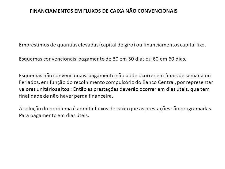 FINANCIAMENTOS EM FLUXOS DE CAIXA NÃO CONVENCIONAIS Empréstimos de quantias elevadas (capital de giro) ou financiamentos capital fixo. Esquemas conven