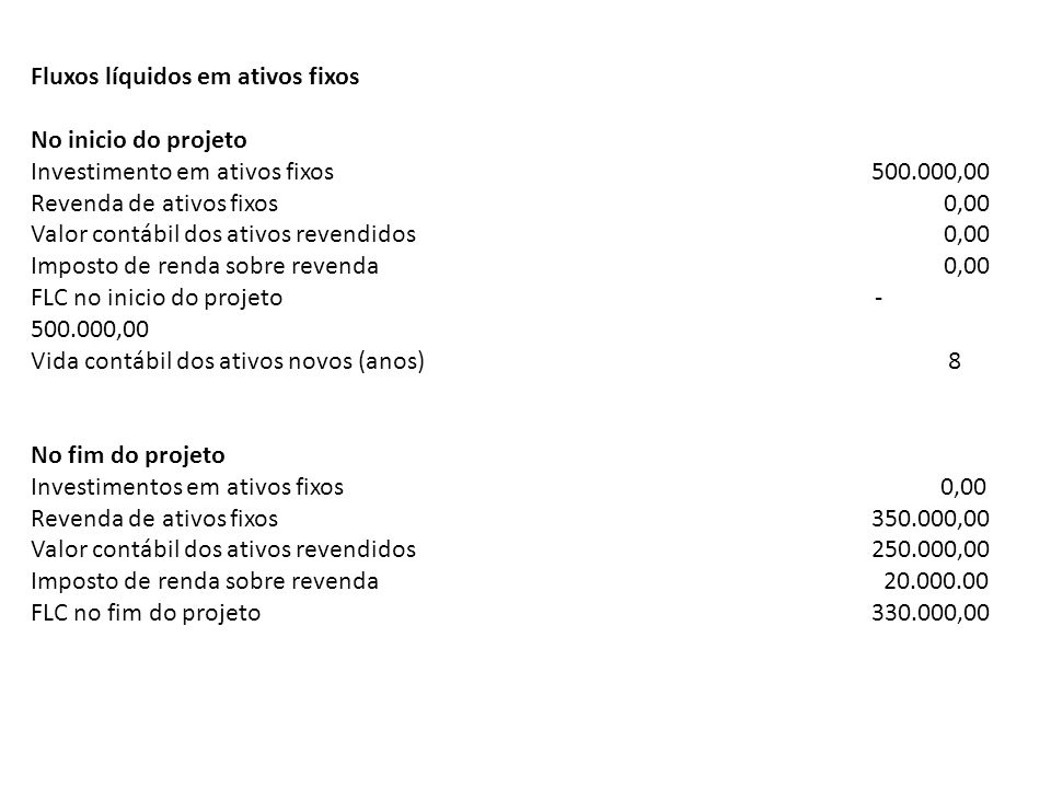 Fluxos líquidos em ativos fixos No inicio do projeto Investimento em ativos fixos500.000,00 Revenda de ativos fixos 0,00 Valor contábil dos ativos rev
