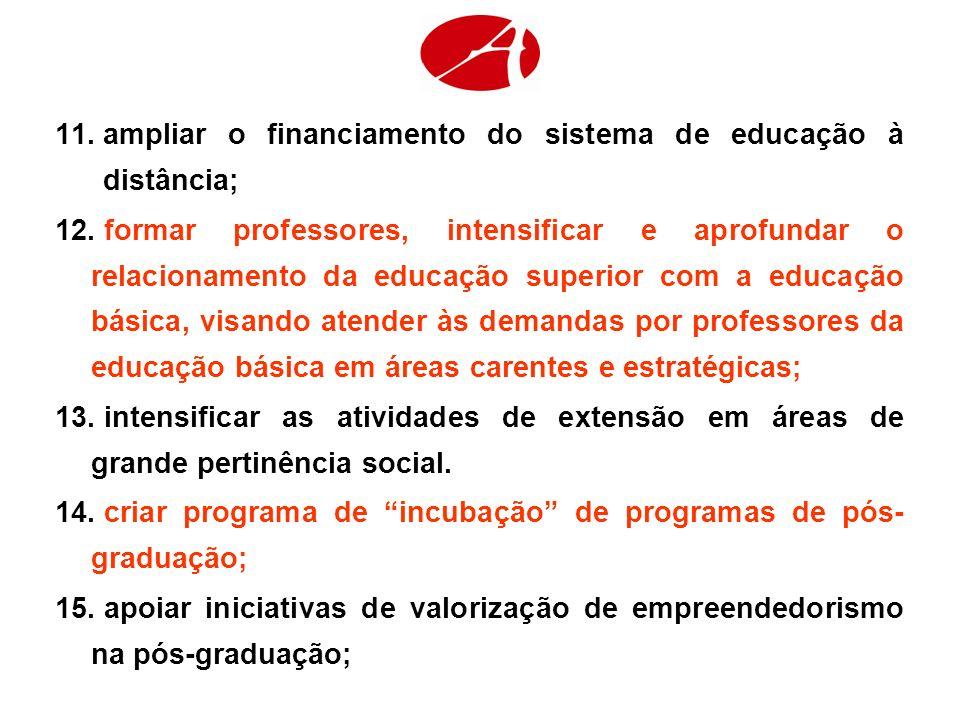 11.ampliar o financiamento do sistema de educação à distância; 12. formar professores, intensificar e aprofundar o relacionamento da educação superior