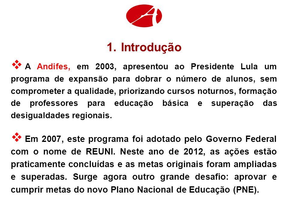 1.Introdução A Andifes, em 2003, apresentou ao Presidente Lula um programa de expansão para dobrar o número de alunos, sem comprometer a qualidade, priorizando cursos noturnos, formação de professores para educação básica e superação das desigualdades regionais.