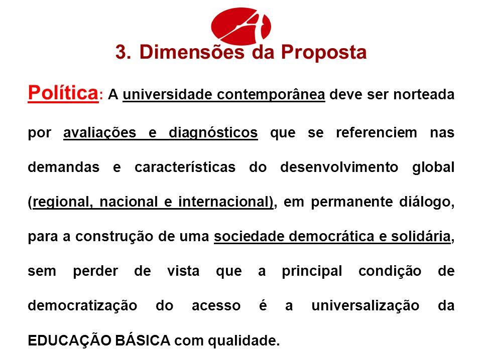 3.Dimensões da Proposta Política : A universidade contemporânea deve ser norteada por avaliações e diagnósticos que se referenciem nas demandas e cara