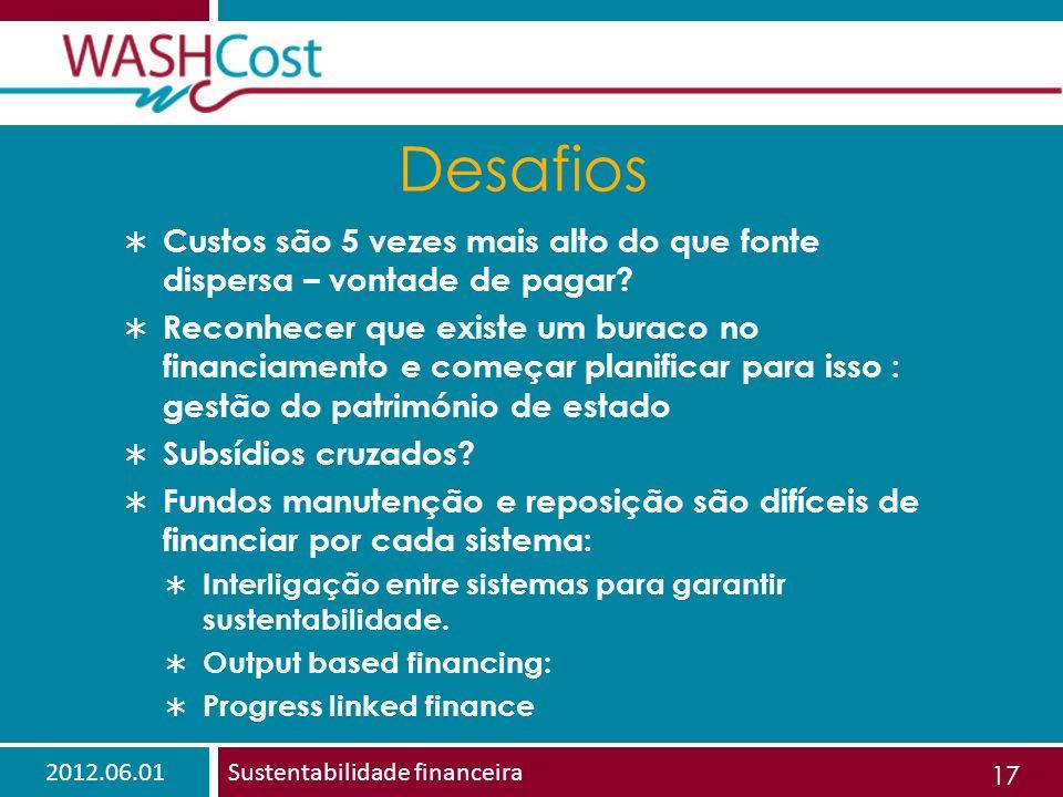 2012.06.01Sustentabilidade financeira 17 Desafios Custos são 5 vezes mais alto do que fonte dispersa – vontade de pagar.