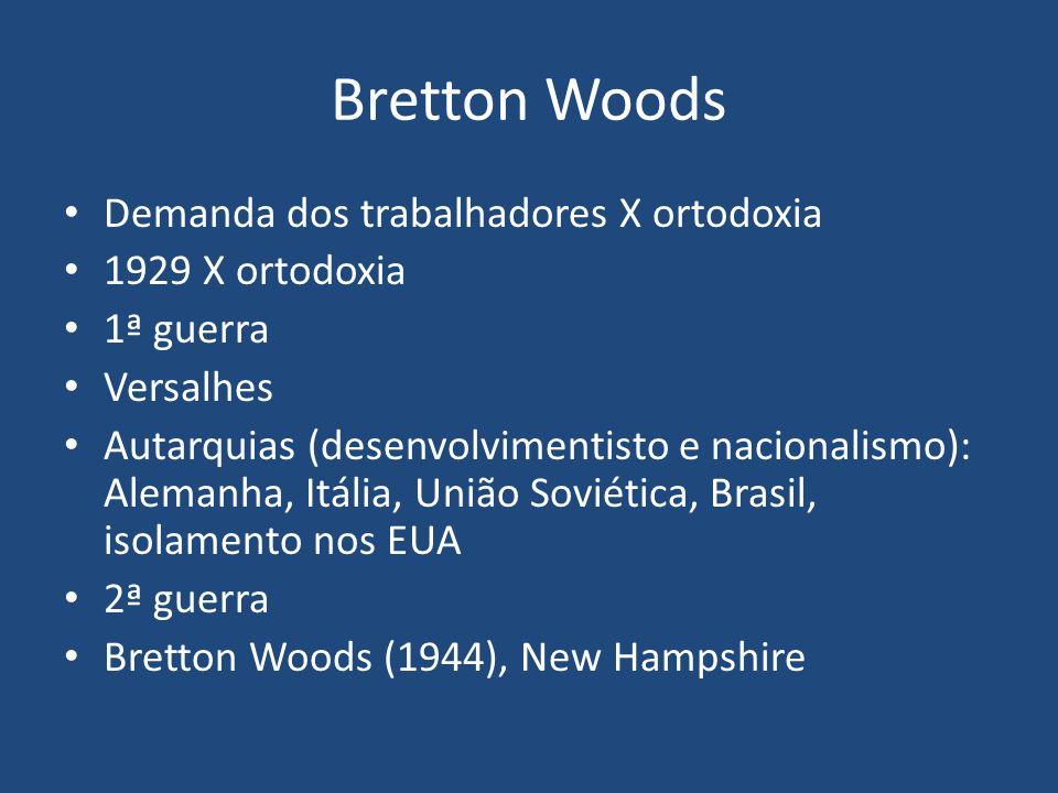 Bretton Woods Demanda dos trabalhadores X ortodoxia 1929 X ortodoxia 1ª guerra Versalhes Autarquias (desenvolvimentisto e nacionalismo): Alemanha, Itália, União Soviética, Brasil, isolamento nos EUA 2ª guerra Bretton Woods (1944), New Hampshire