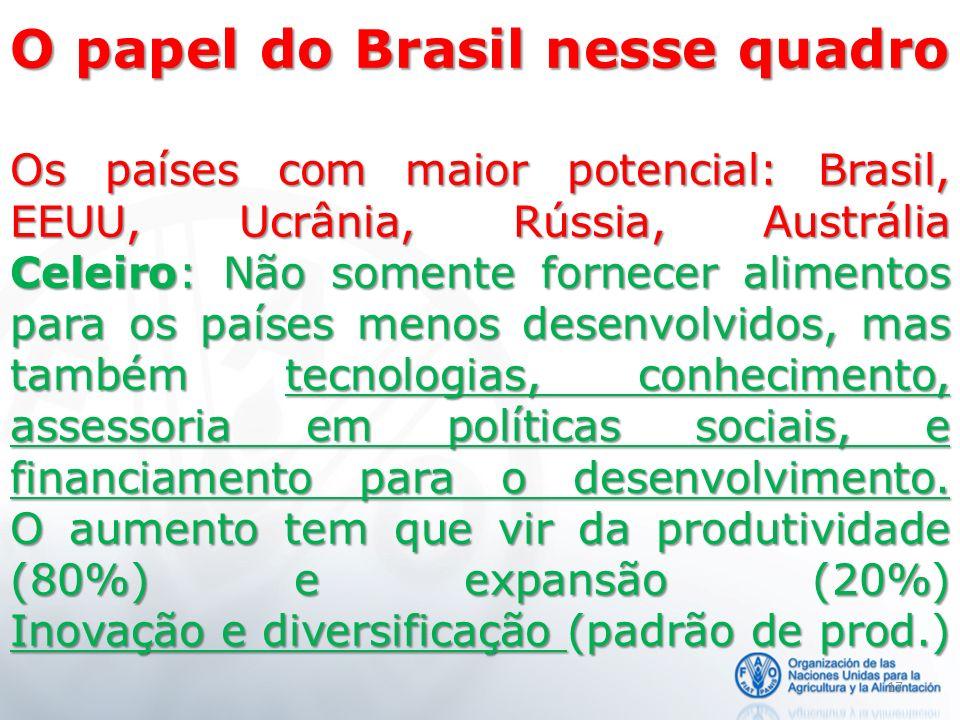 17 O papel do Brasil nesse quadro Os países com maior potencial: Brasil, EEUU, Ucrânia, Rússia, Austrália Celeiro: Não somente fornecer alimentos para