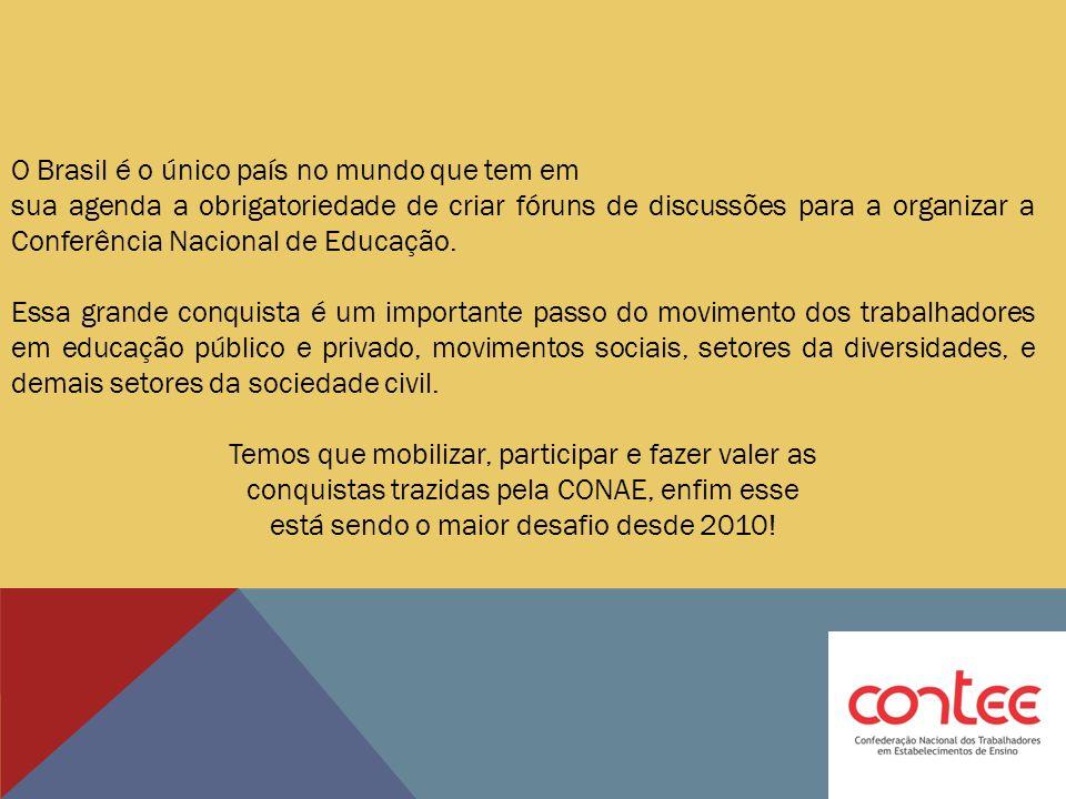 O Brasil é o único país no mundo que tem em sua agenda a obrigatoriedade de criar fóruns de discussões para a organizar a Conferência Nacional de Educ