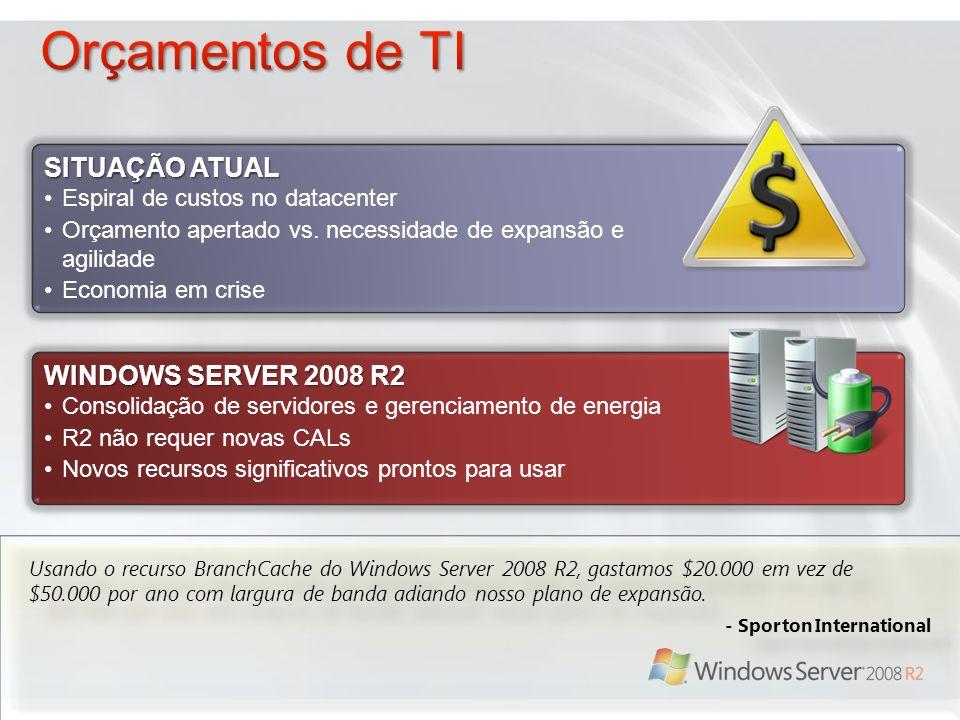 WINDOWS SERVER 2008 R2 Consolidação de servidores e gerenciamento de energia R2 não requer novas CALs Novos recursos significativos prontos para usar SITUAÇÃO ATUAL Espiral de custos no datacenter Orçamento apertado vs.