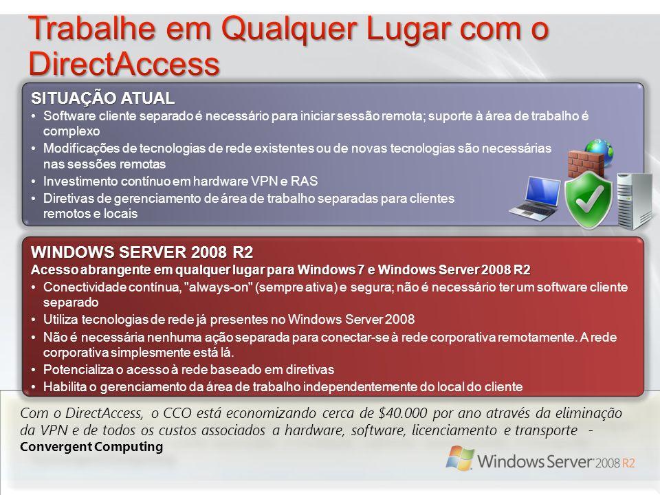 Com o DirectAccess, o CCO está economizando cerca de $40.000 por ano através da eliminação da VPN e de todos os custos associados a hardware, software, licenciamento e transporte - Convergent Computing WINDOWS SERVER 2008 R2 Acesso abrangente em qualquer lugar para Windows 7 e Windows Server 2008 R2 Conectividade contínua, always-on (sempre ativa) e segura; não é necessário ter um software cliente separado Utiliza tecnologias de rede já presentes no Windows Server 2008 Não é necessária nenhuma ação separada para conectar-se à rede corporativa remotamente.