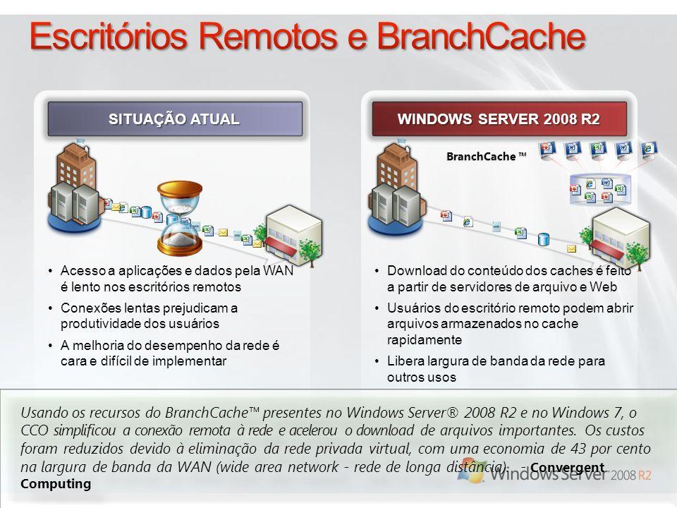 WINDOWS SERVER 2008 R2 SITUAÇÃO ATUAL Acesso a aplicações e dados pela WAN é lento nos escritórios remotos Conexões lentas prejudicam a produtividade dos usuários A melhoria do desempenho da rede é cara e difícil de implementar Download do conteúdo dos caches é feito a partir de servidores de arquivo e Web Usuários do escritório remoto podem abrir arquivos armazenados no cache rapidamente Libera largura de banda da rede para outros usos Usando os recursos do BranchCache presentes no Windows Server® 2008 R2 e no Windows 7, o CCO simplificou a conexão remota à rede e acelerou o download de arquivos importantes.
