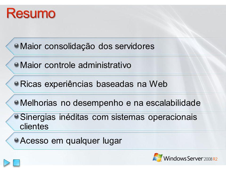 Sinergias inéditas com sistemas operacionais clientes Acesso em qualquer lugar Maior consolidação dos servidores Maior controle administrativo Ricas experiências baseadas na Web Melhorias no desempenho e na escalabilidade