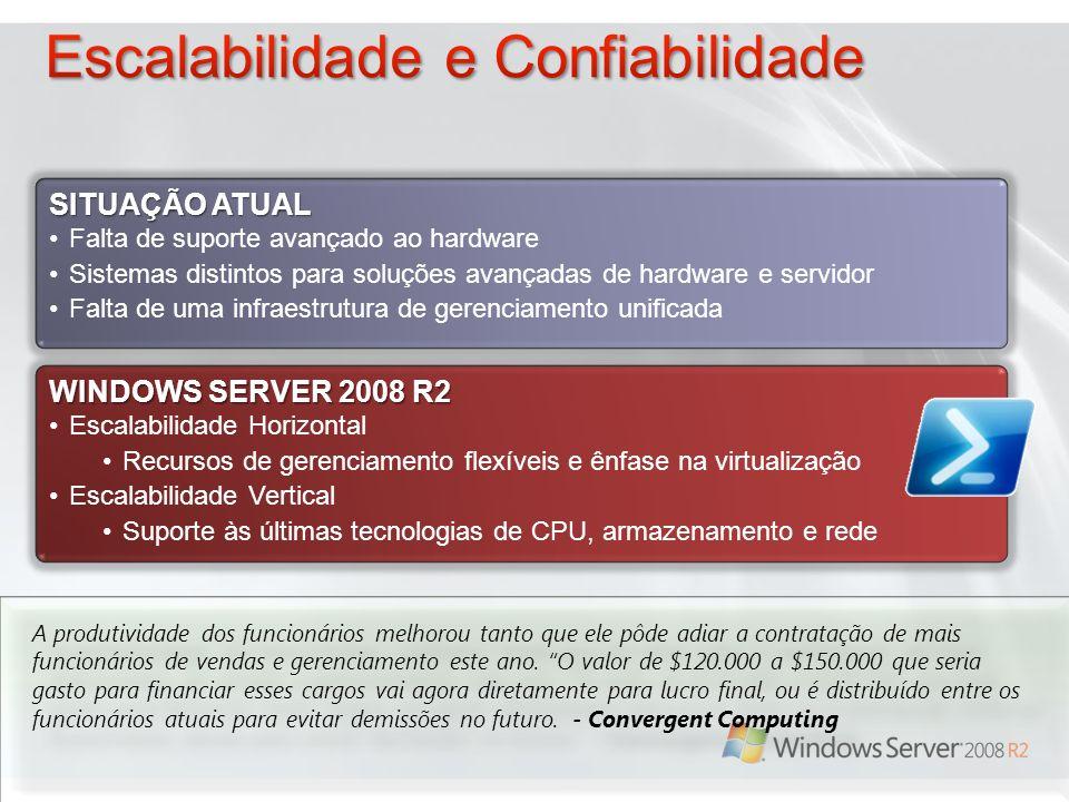 WINDOWS SERVER 2008 R2 Escalabilidade Horizontal Recursos de gerenciamento flexíveis e ênfase na virtualização Escalabilidade Vertical Suporte às últi