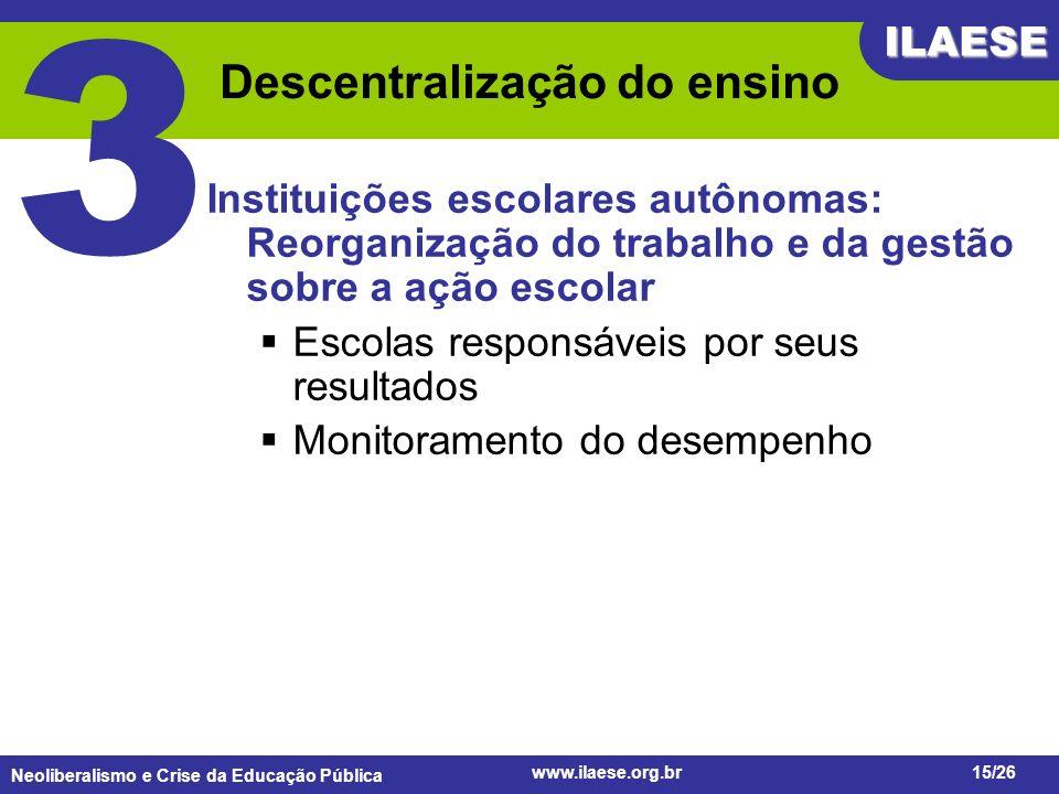 Neoliberalismo e Crise da Educação Pública ILAESE www.ilaese.org.br15/26 Descentralização do ensino Instituições escolares autônomas: Reorganização do