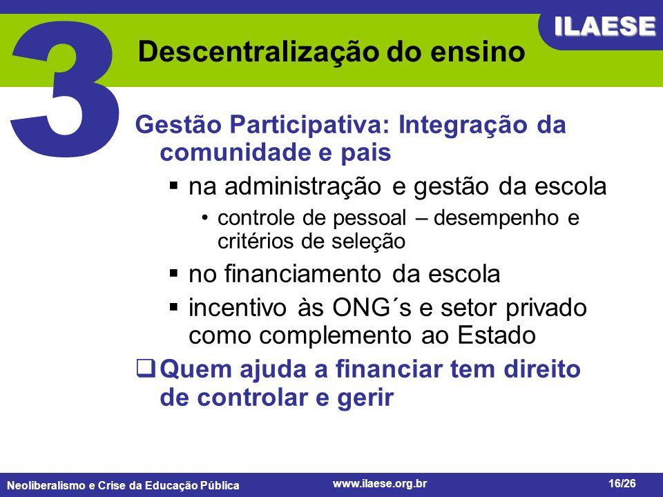 Neoliberalismo e Crise da Educação Pública ILAESE www.ilaese.org.br16/26 Descentralização do ensino Gestão Participativa: Integração da comunidade e p
