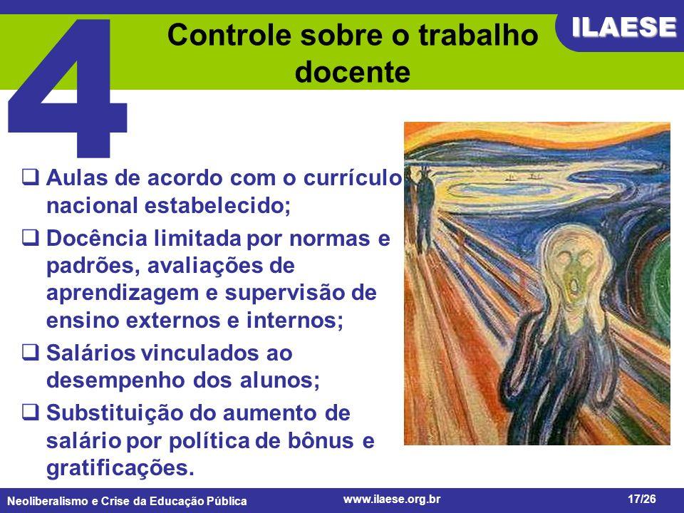 Neoliberalismo e Crise da Educação Pública ILAESE www.ilaese.org.br17/26 Controle sobre o trabalho docente Aulas de acordo com o currículo nacional es