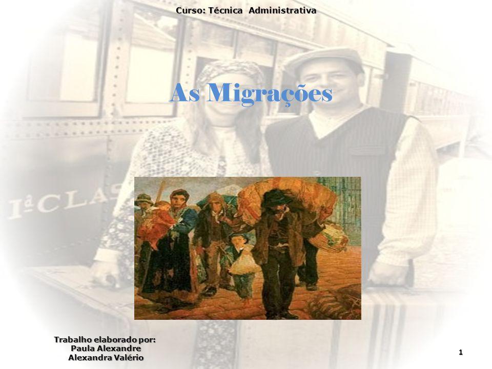 As Migrações Curso: Técnica Administrativa 1 Trabalho elaborado por: Paula Alexandre Alexandra Valério