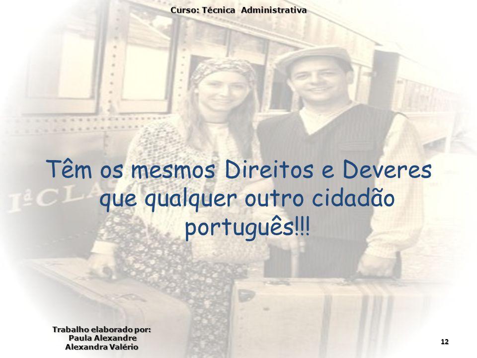 Têm os mesmos Direitos e Deveres que qualquer outro cidadão português!!! Curso: Técnica Administrativa Trabalho elaborado por: Paula Alexandre Alexand