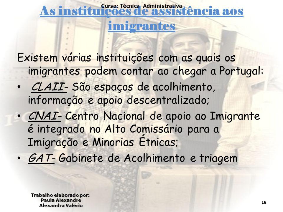 As instituições de assistência aos imigrantes Existem várias instituições com as quais os imigrantes podem contar ao chegar a Portugal: CLAII- São esp
