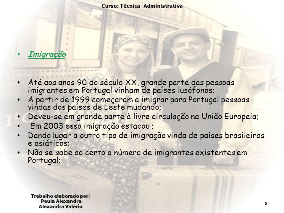 Imigração Imigração Até aos anos 90 do século XX, grande parte das pessoas imigrantes em Portugal vinham de países lusófonos; A partir de 1999 começaram a imigrar para Portugal pessoas vindas dos países de Leste mudando; Deveu-se em grande parte à livre circulação na União Europeia; Em 2003 essa imigração estacou ; Dando lugar a outro tipo de imigração vinda de países brasileiros e asiáticos; Não se sabe ao certo o número de imigrantes existentes em Portugal; Curso: Técnica Administrativa Trabalho elaborado por: Paula Alexandre Alexandra Valério 5