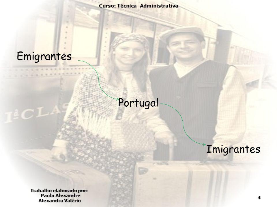 Emigrantes Portugal Imigrantes Curso: Técnica Administrativa Trabalho elaborado por: Paula Alexandre Alexandra Valério 6