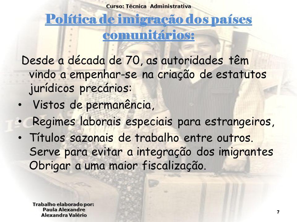 Política de imigração dos países comunitários: Desde a década de 70, as autoridades têm vindo a empenhar-se na criação de estatutos jurídicos precário
