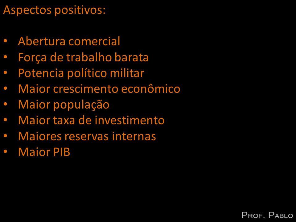 Aspectos positivos: Abertura comercial Força de trabalho barata Potencia político militar Maior crescimento econômico Maior população Maior taxa de in