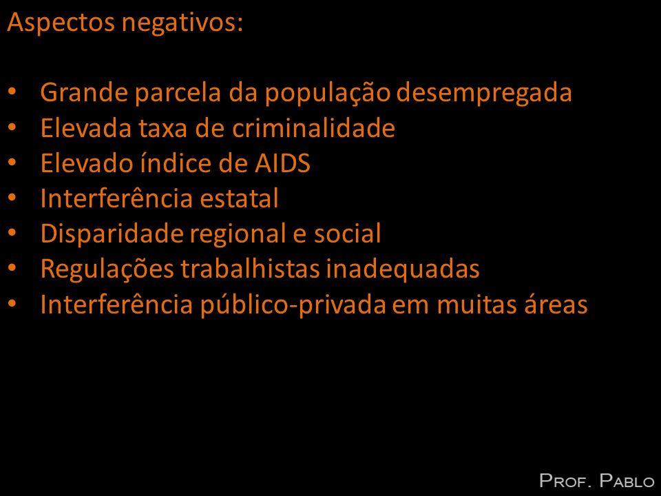 Aspectos negativos: Grande parcela da população desempregada Elevada taxa de criminalidade Elevado índice de AIDS Interferência estatal Disparidade re