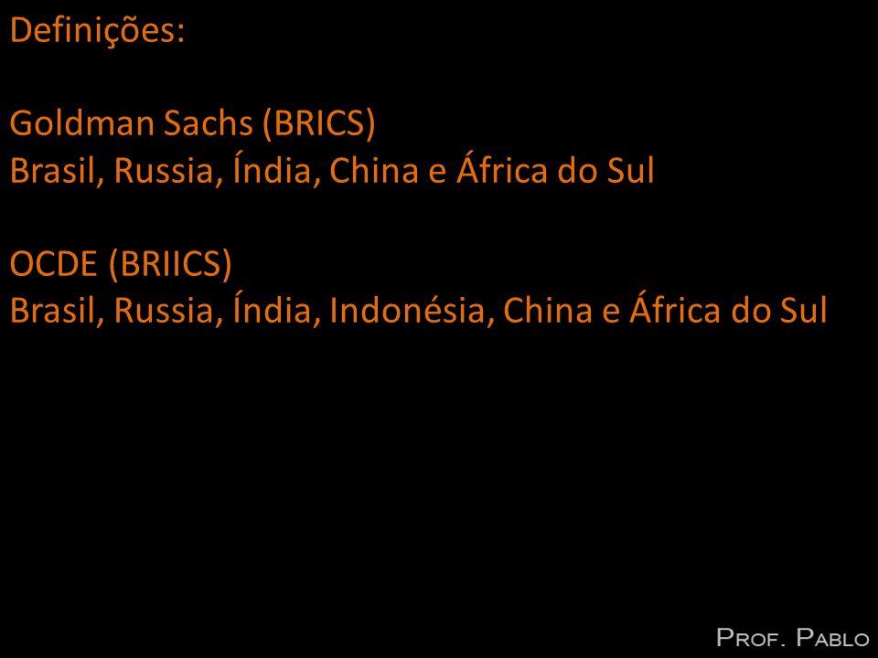 Características comuns aos BRICS: grandes mercados grandes oportunidades grandes populações recursos naturais ordem mundial: multipolaridade taxa de crescimento econômico elevado peso economico e político crescente (G - 20) população com grande desigualdade social capacidade de inovação fraca fraqueza na infraestrutura e governança