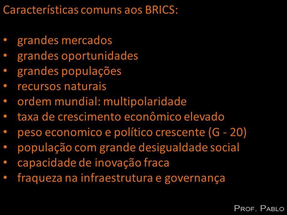 Características comuns aos BRICS: grandes mercados grandes oportunidades grandes populações recursos naturais ordem mundial: multipolaridade taxa de c