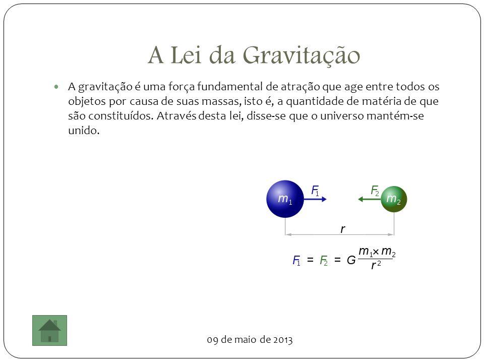 09 de maio de 2013 A Lei da Gravitação A gravitação é uma força fundamental de atração que age entre todos os objetos por causa de suas massas, isto é