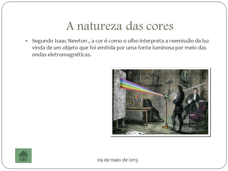 09 de maio de 2013 A natureza das cores Segundo Isaac Newton, a cor é como o olho interpreta a reemissão da luz vinda de um objeto que foi emitida por
