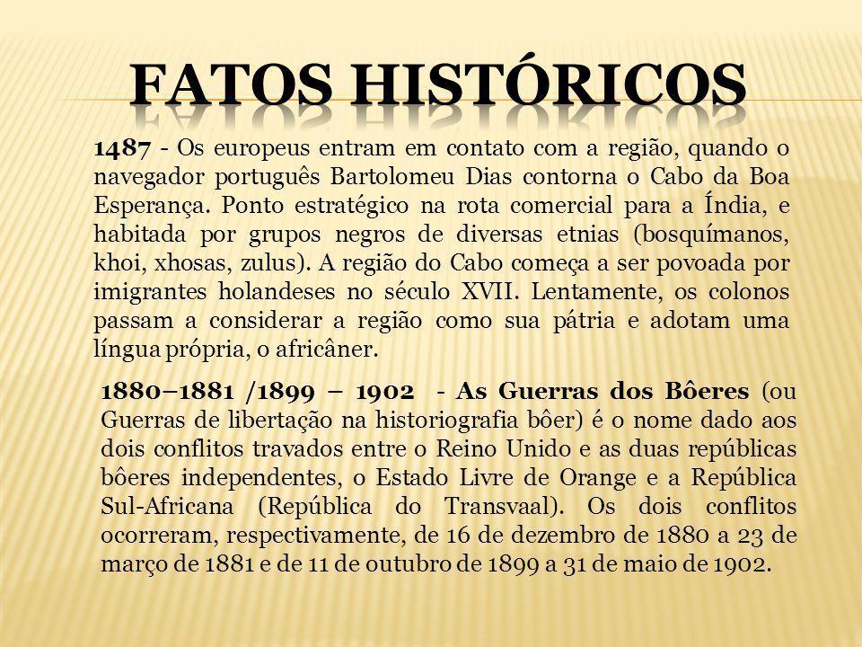 1487 - Os europeus entram em contato com a região, quando o navegador português Bartolomeu Dias contorna o Cabo da Boa Esperança. Ponto estratégico na