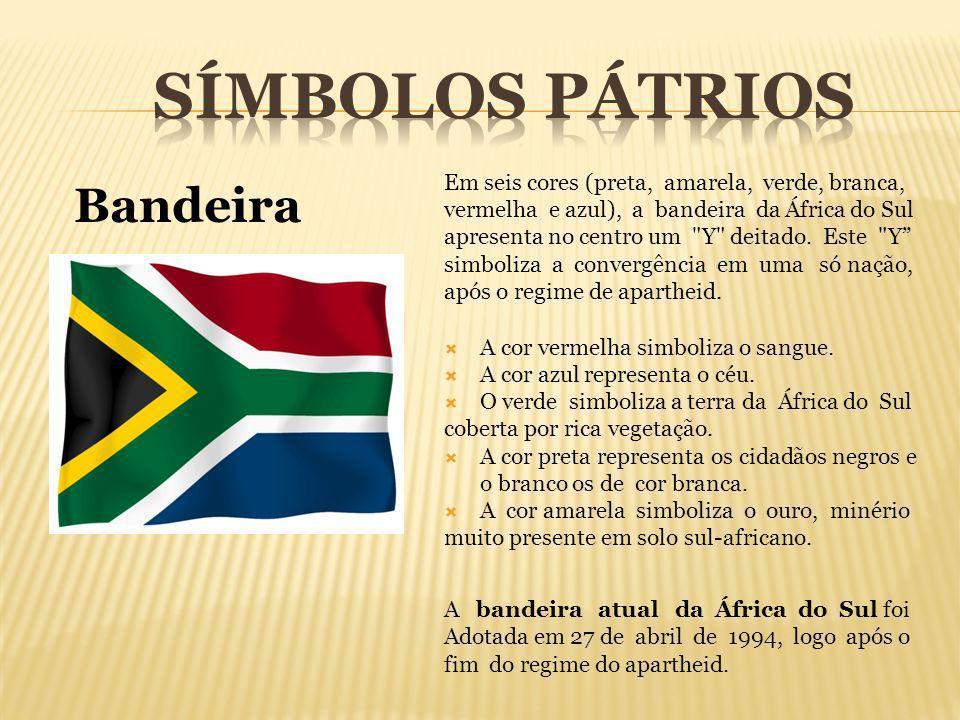 Em seis cores (preta, amarela, verde, branca, vermelha e azul), a bandeira da África do Sul apresenta no centro um
