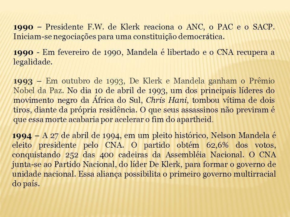 1990 – Presidente F.W. de Klerk reaciona o ANC, o PAC e o SACP. Iniciam-se negocia ç ões para uma constitui ç ão democr á tica. 1990 - Em fevereiro de
