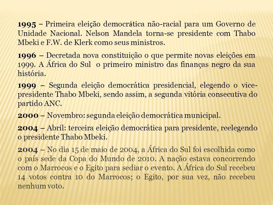 2000 – Novembro: segunda eleição democrática municipal. 2004 – Abril: terceira eleição democrática para presidente, reelegendo o presidente Thabo Mbek