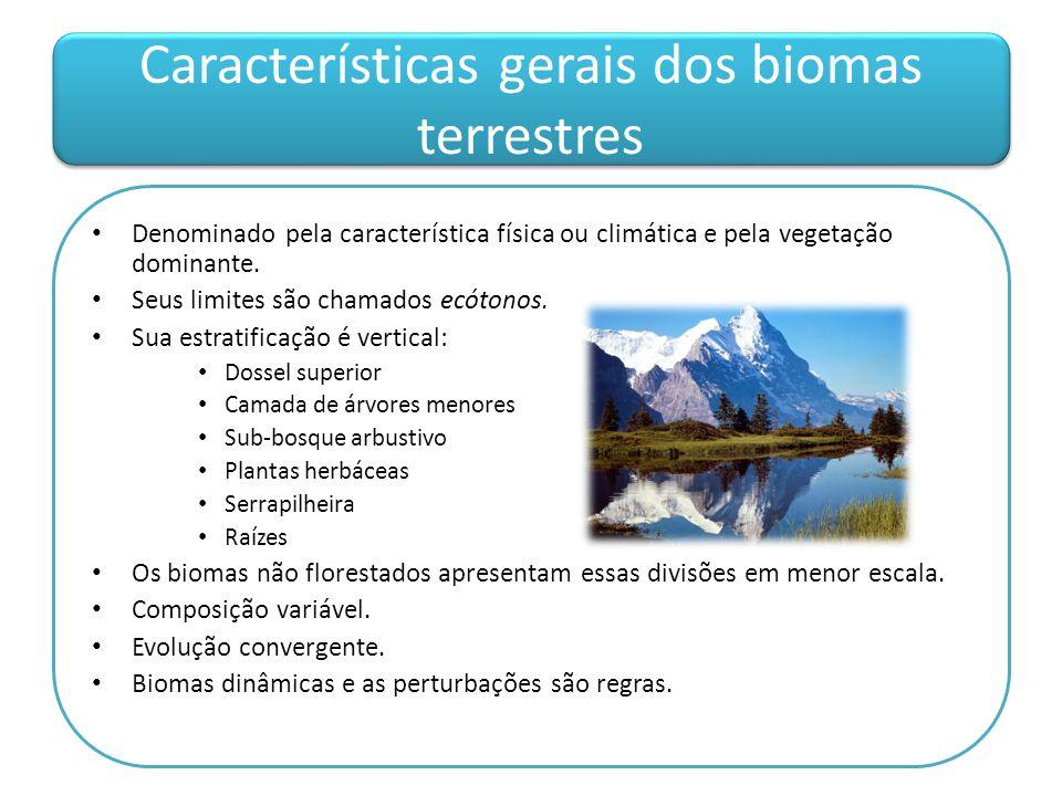 Características gerais dos biomas terrestres Denominado pela característica física ou climática e pela vegetação dominante. Seus limites são chamados