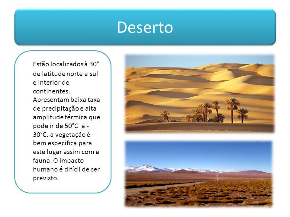 Deserto Estão localizados à 30° de latitude norte e sul e interior de continentes. Apresentam baixa taxa de precipitação e alta amplitude térmica que