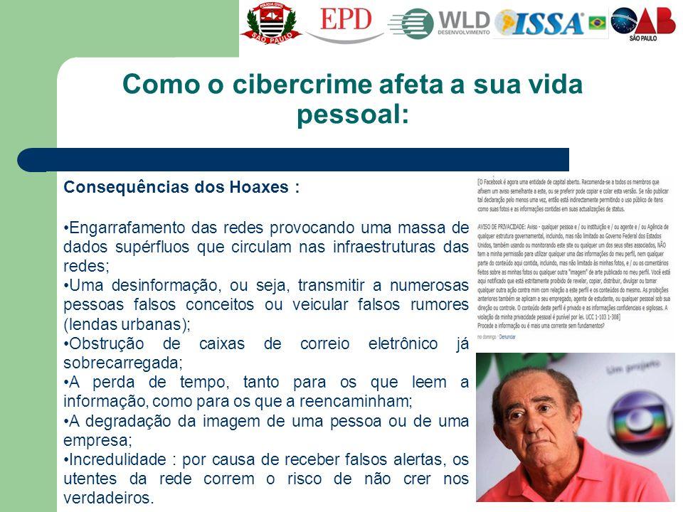 Como o cibercrime afeta a sua vida pessoal: Consequências dos Hoaxes : Engarrafamento das redes provocando uma massa de dados supérfluos que circulam