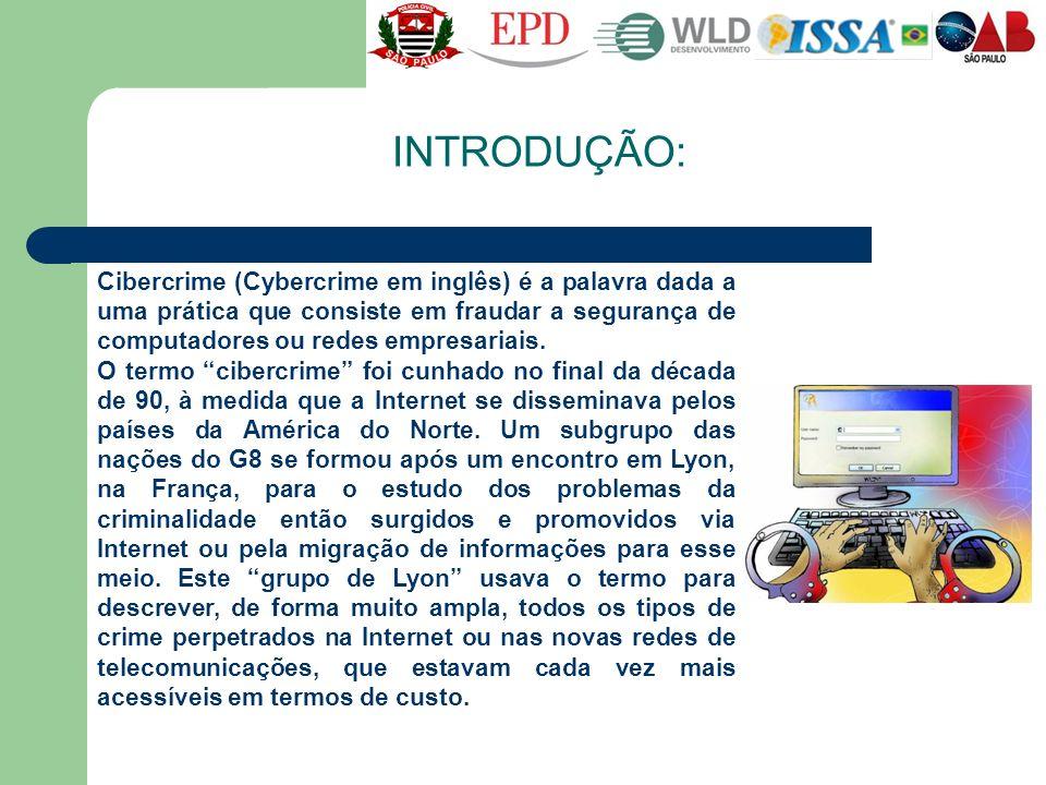 INTRODUÇÃO: Cibercrime (Cybercrime em inglês) é a palavra dada a uma prática que consiste em fraudar a segurança de computadores ou redes empresariais