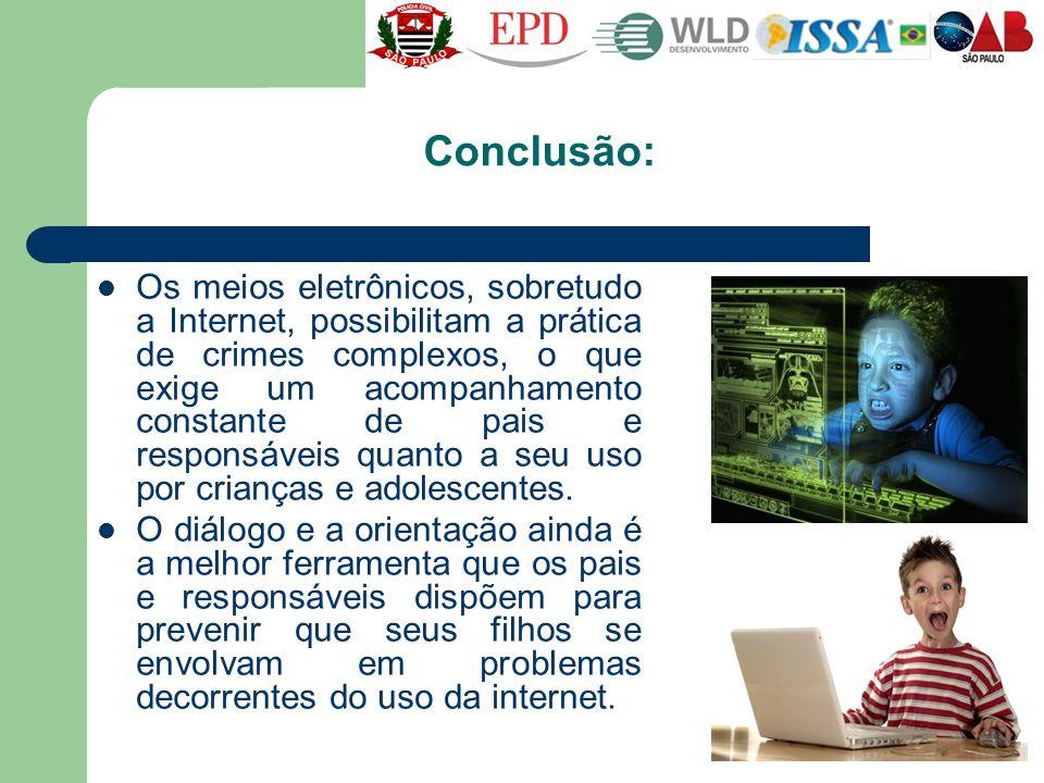 Conclusão: Os meios eletrônicos, sobretudo a Internet, possibilitam a prática de crimes complexos, o que exige um acompanhamento constante de pais e r