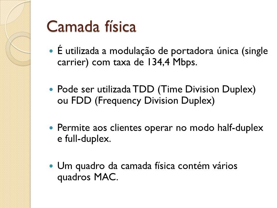 Camada física É utilizada a modulação de portadora única (single carrier) com taxa de 134,4 Mbps. Pode ser utilizada TDD (Time Division Duplex) ou FDD