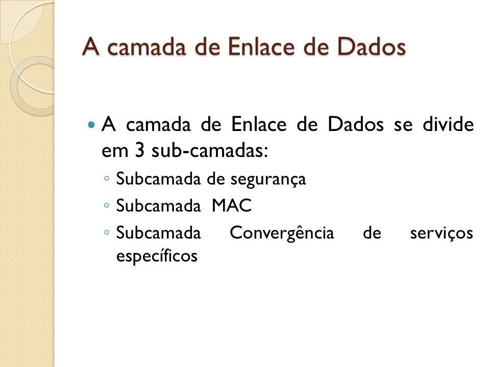A camada de Enlace de Dados A camada de Enlace de Dados se divide em 3 sub-camadas: Subcamada de segurança Subcamada MAC Subcamada Convergência de ser