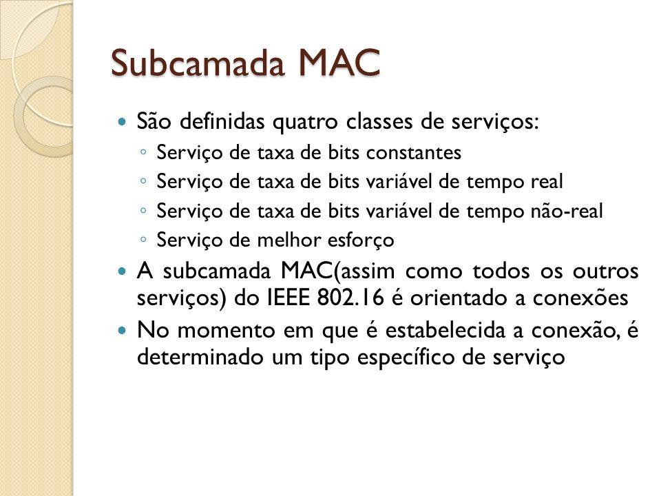 Subcamada MAC São definidas quatro classes de serviços: Serviço de taxa de bits constantes Serviço de taxa de bits variável de tempo real Serviço de t