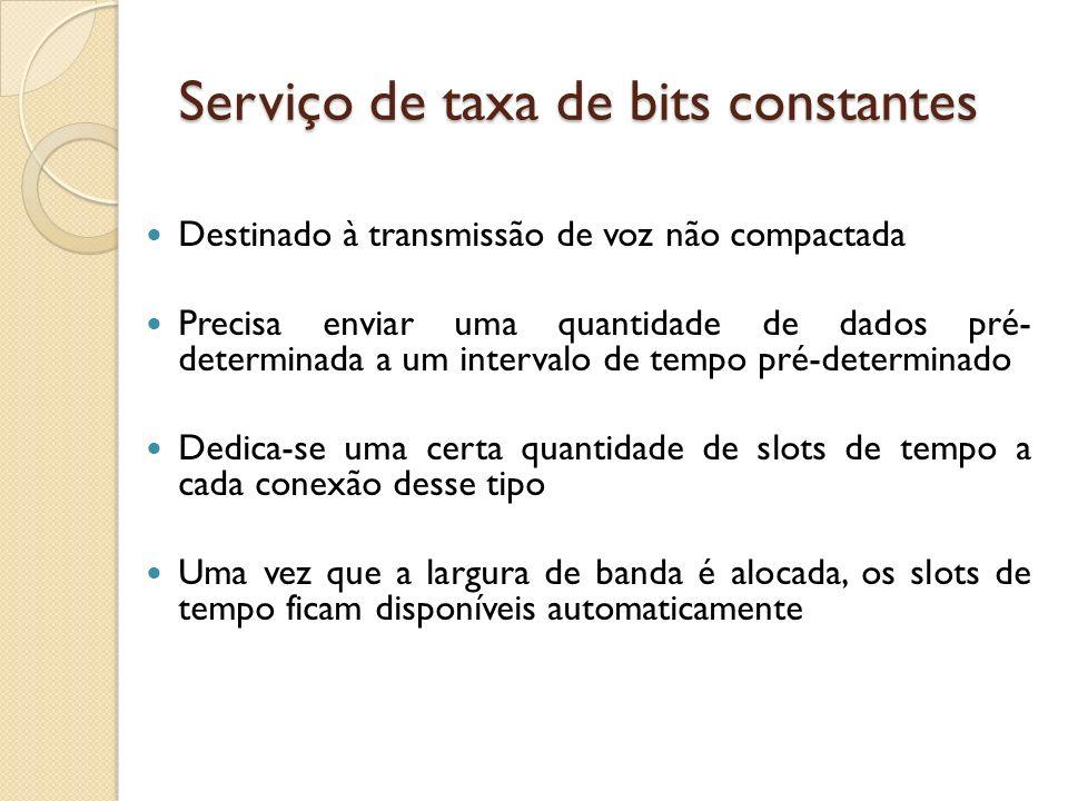 Serviço de taxa de bits constantes Destinado à transmissão de voz não compactada Precisa enviar uma quantidade de dados pré- determinada a um interval