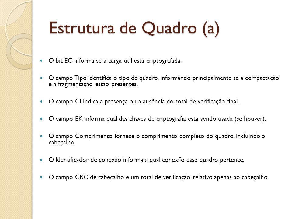 Estrutura de Quadro (a) O bit EC informa se a carga útil esta criptografada. O campo Tipo identifica o tipo de quadro, informando principalmente se a